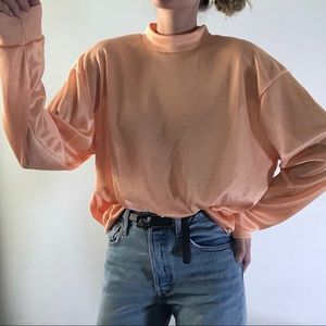 VINTAGE/oversized boxy mock neck